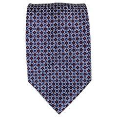 BRIONI Light Blue & Navy Dot Print Silk Tie