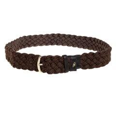 Brioni Mocha Brown Braided Fabric Buckle Belt