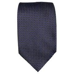 BRIONI Navy & Black White Dots Silk Tie