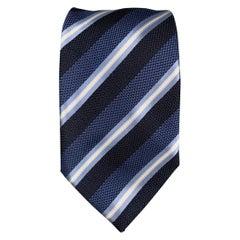 BRIONI Navy & Light Blue Stripe Silk Tie