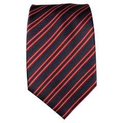 BRIONI Navy & Red Stripe Silk Tie