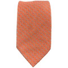 BRIONI Orange & Blue Abstract Geometric Print Silk Tie