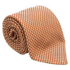 Brioni Orange Printed Silk Tie - Hand Made