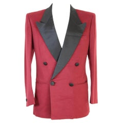 Brioni Red Black Wool Double Breasted Tuxedo Evening Jacket