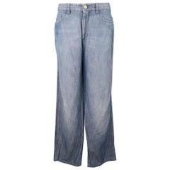 BRIONI Size 32 x 30 Blue Light Weight Cotton / Linen Straight Leg Jeans