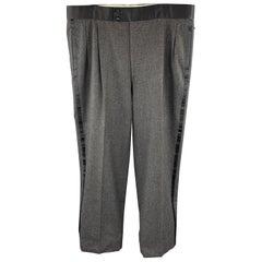 BRIONI Size 39 Dark Gray Heather Wool Tuxedo Dress Pants