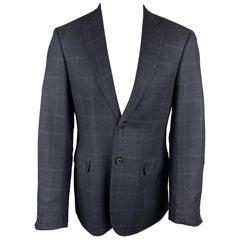 BRIONI Size 39 Navy Plaid Silk / Wool Notch Lapel Custom Sport Coat