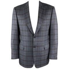 BRIONI Size 42 Blue & Brown Plaid Cashmere Notch Lapel Sport Coat