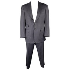 BRIONI Size 42 Navy Striped Wool Notch Lapel Suit