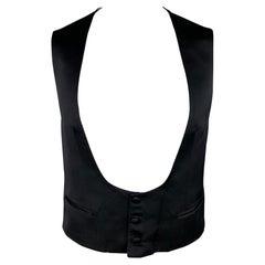 BRIONI Size 44 Black Silk Custom Tuxedo Vest