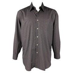BRIONI Size L Black Dots Cotton Button Up Long Sleeve Shirt