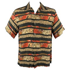 BRIONI Size M Black & Taupe Stripe Rayon Camp Short Sleeve Shirt