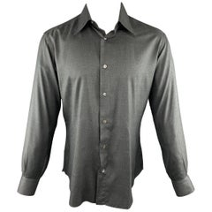 BRIONI Size M Charcoal Solid Silk Button Up Long Sleeve Shirt