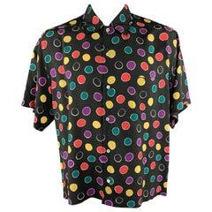 BRIONI Size XL Black & Multi-Color Circles Rayon Button Up Short Sleeve Shirt