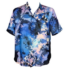 BRIONI Size XXL Blue & Purple White Abstract Floral Silk Short Sleeve Shirt