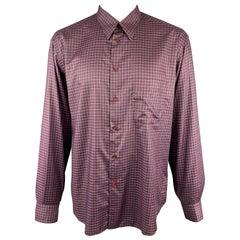 BRIONI Size XXL Purple Plaid Cotton Button Up Patch Pocket Long Sleeve Shirt
