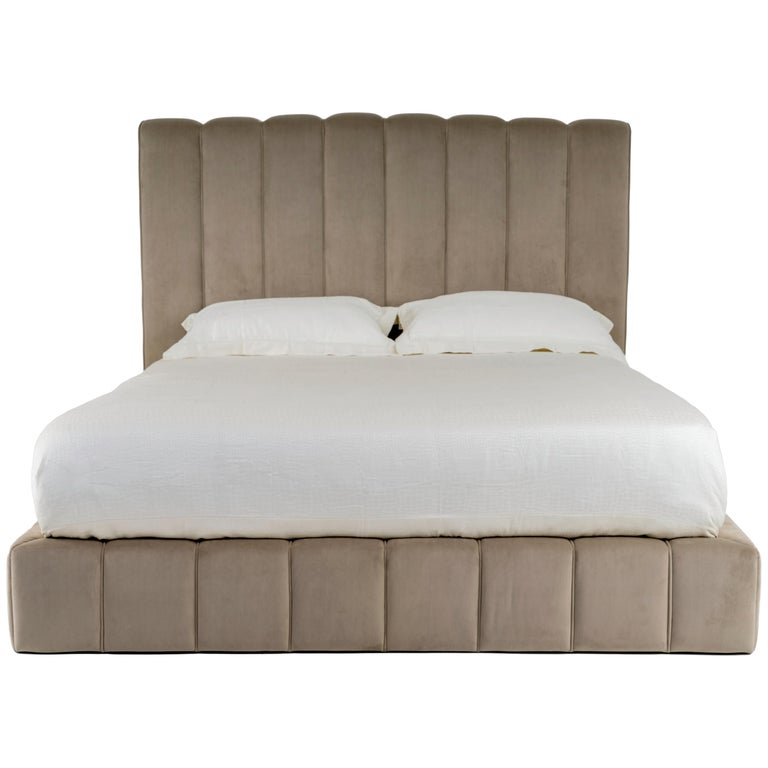 Brisa Bed with Upholstered Headboard and Base For Sale