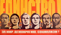 Original Vintage Poster International Unity For Peace Democracy Socialism USSR