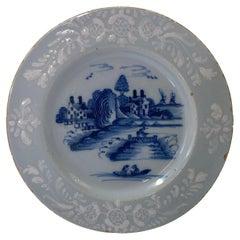 Bristol Delft 'Bianco sopra Bianco' Dish, c. 1760