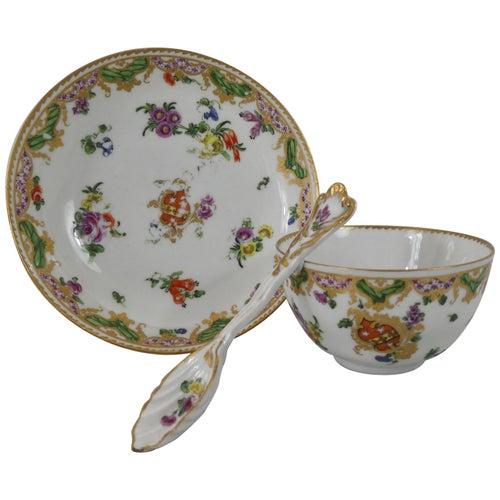 Bristol Porcelain 'Ludlow Service', Cup, Saucer & Spoon, circa 1775