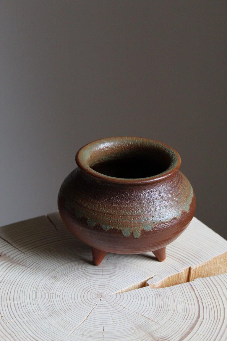 Mid-Century Modern Brita Heilimo, Vase, Glazed Stoneware, Arabia, Finland, 1950s For Sale