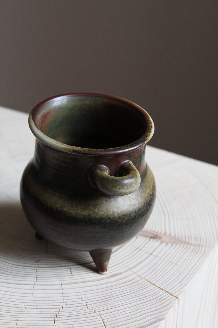 Finnish Brita Heilimo, Vase, Glazed Stoneware, Arabia, Finland, 1950s For Sale