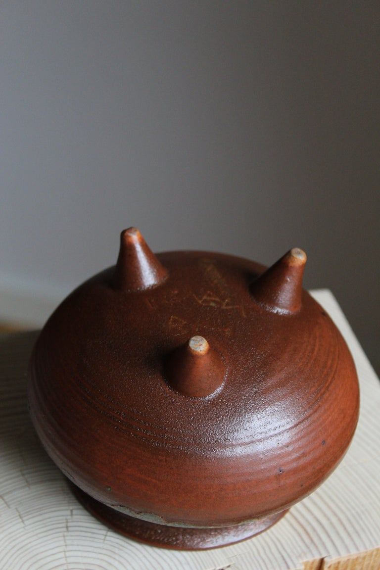Brita Heilimo, Vase, Glazed Stoneware, Arabia, Finland, 1950s In Good Condition For Sale In West Palm Beach, FL