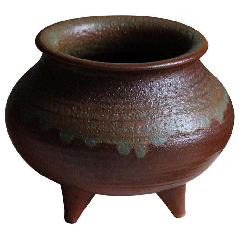 Brita Heilimo, Vase, Glazed Stoneware, Arabia, Finland, 1950s For Sale