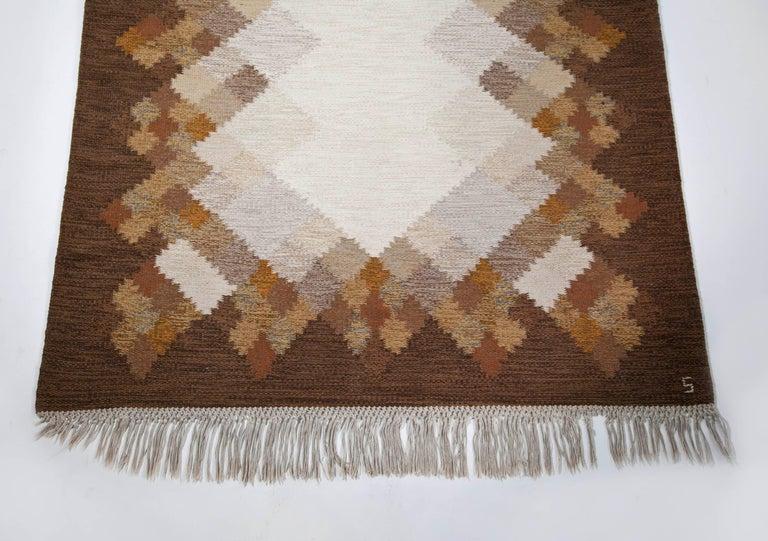 Scandinavian Modern Brita Svefors Brown and Tan Flat-Weave Rug