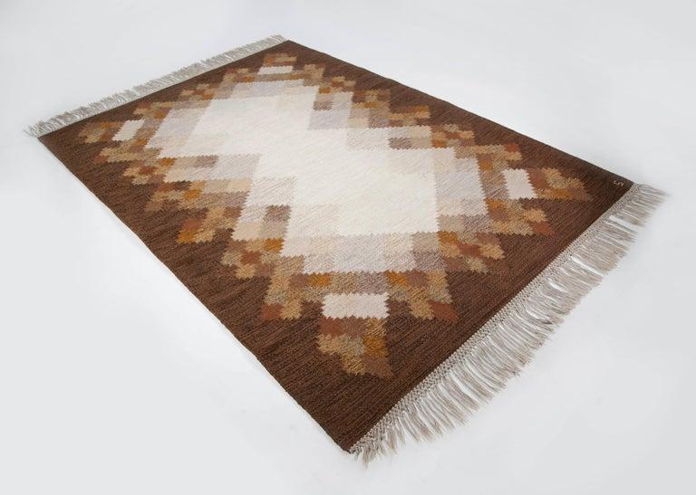Swedish Brita Svefors Brown and Tan Flat-Weave Rug