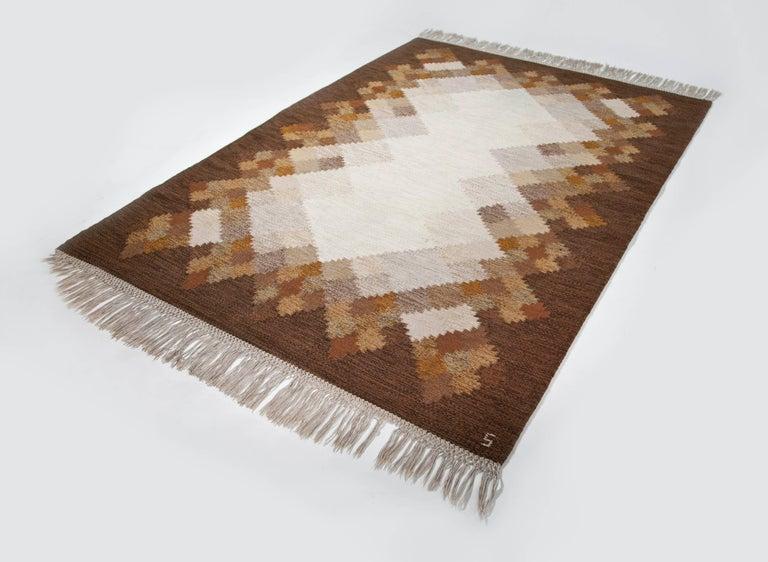 Hand-Woven Brita Svefors Brown and Tan Flat-Weave Rug