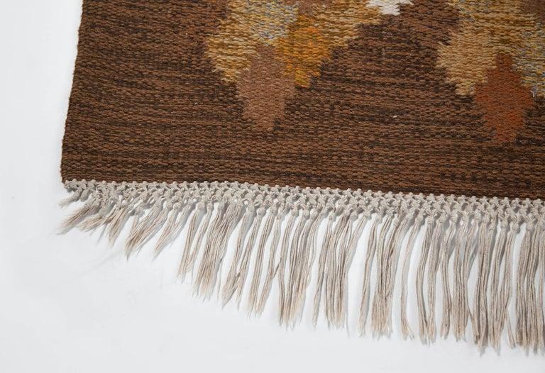 20th Century Brita Svefors Brown and Tan Flat-Weave Rug