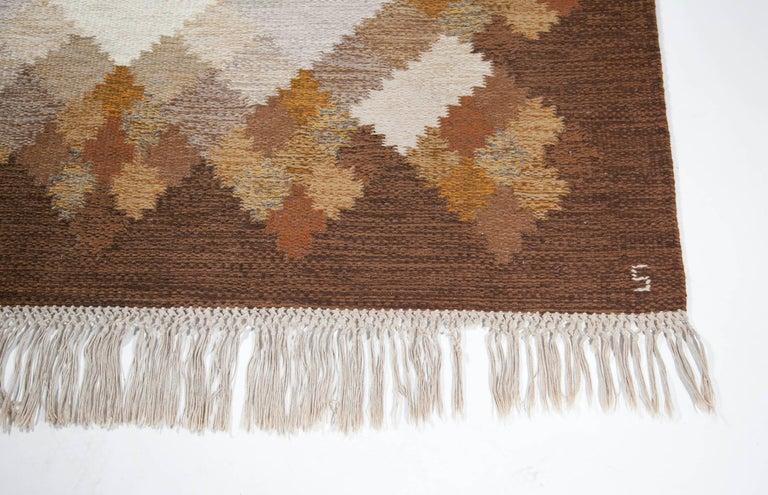 Wool Brita Svefors Brown and Tan Flat-Weave Rug