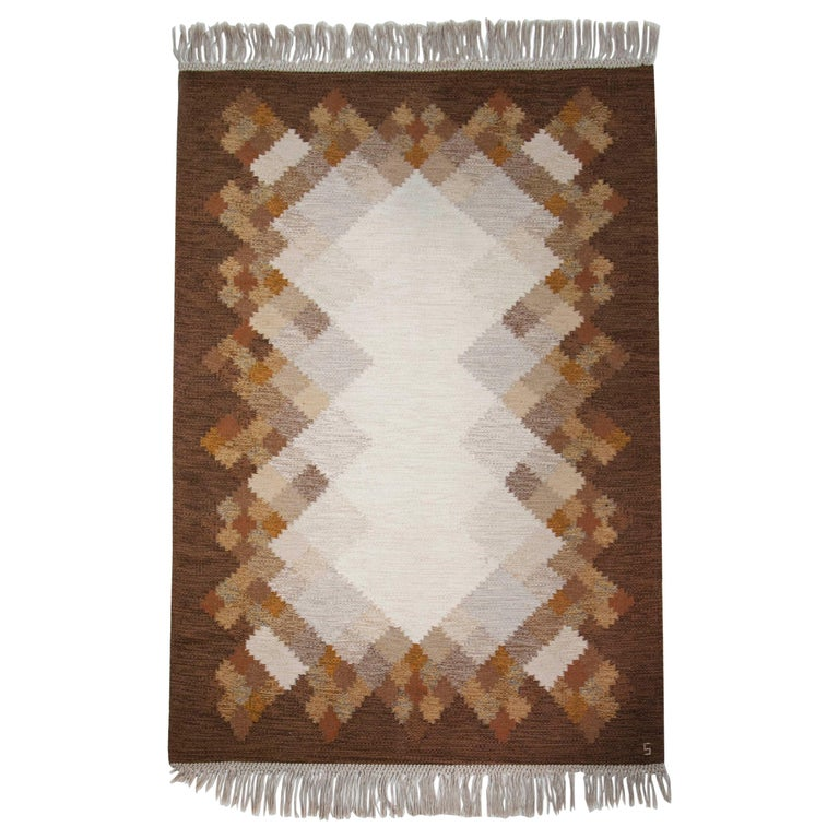 """Brita Svefors Brown and Tan Flat-Weave Rug """"Opal"""" for Axeco, Sweden, 1970s For Sale"""