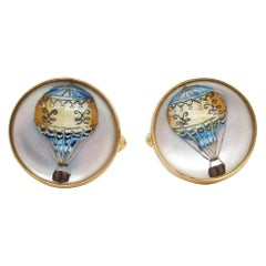 British 18 Karat Yellow Gold Montgolfier Hot Air Balloon Cufflinks