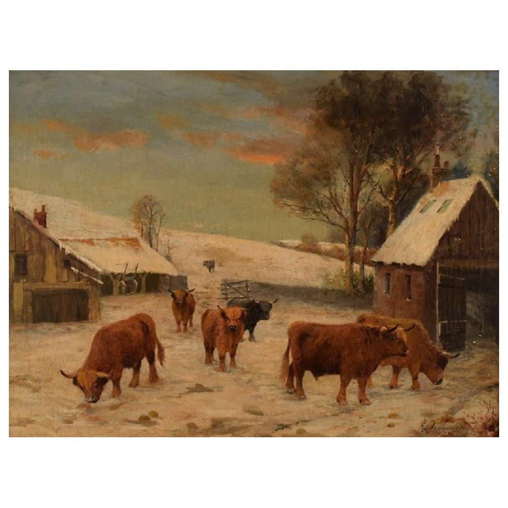 British 19th Century Artist, Oil on Canvas, Scottish Highland Cattle, 1880s
