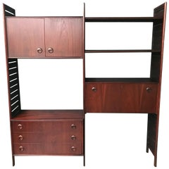 British 2 Bay Teak Ladderax Shelving System with Chest of Drawers and Bureau