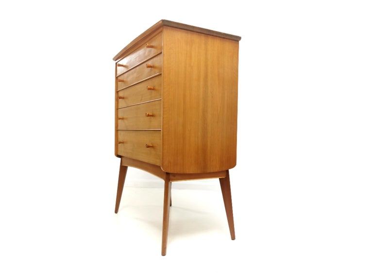 20th Century British Alfred Cox for Heals Midcentury Walnut Chest of Drawers, Vintage