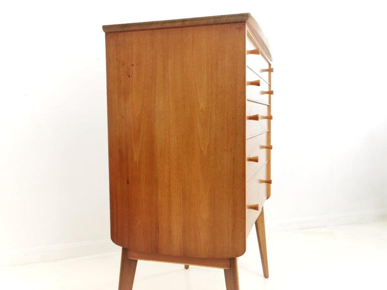 British Alfred Cox for Heals Midcentury Walnut Chest of Drawers, Vintage 1