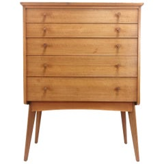 British Alfred Cox for Heals Midcentury Walnut Chest of Drawers, Vintage