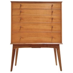 British Alfred Cox for Maples Mid Century Walnut Chest of Drawers Vintage