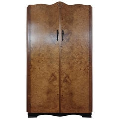 British Art Deco Bird's-Eye Maple Tall Boy or Gentleman's Wardrobe
