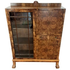British Art Deco Bureau Display Cabinet Bookcase