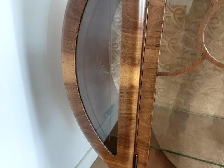 British Art Deco Display Cabinet Bookcase in Walnut For Sale 6