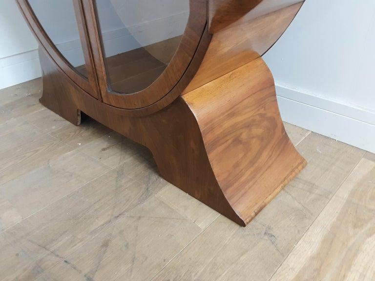 British Art Deco Display Cabinet Bookcase in Walnut For Sale 1