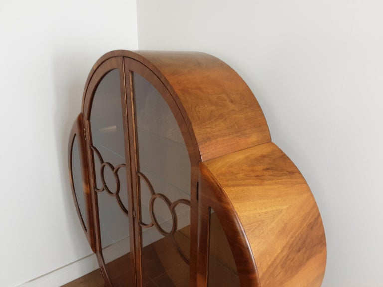 British Art Deco Display Cabinet Bookcase in Walnut For Sale 2