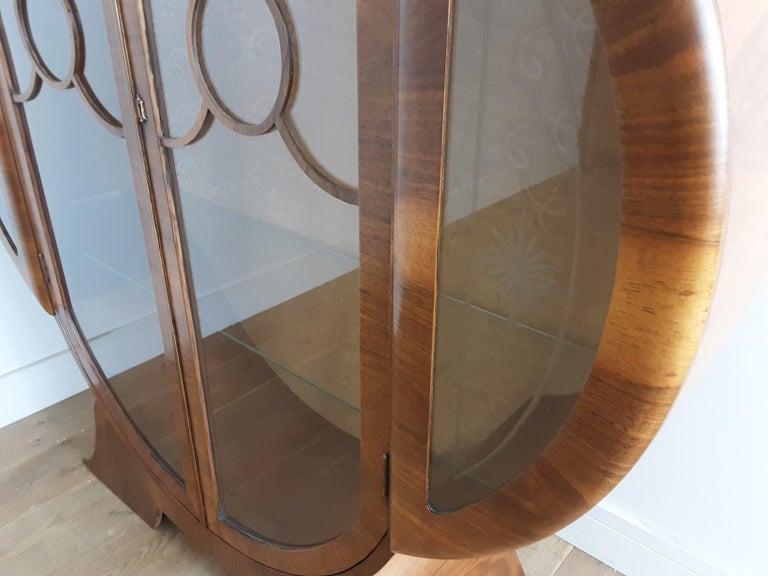British Art Deco Display Cabinet Bookcase in Walnut For Sale 3