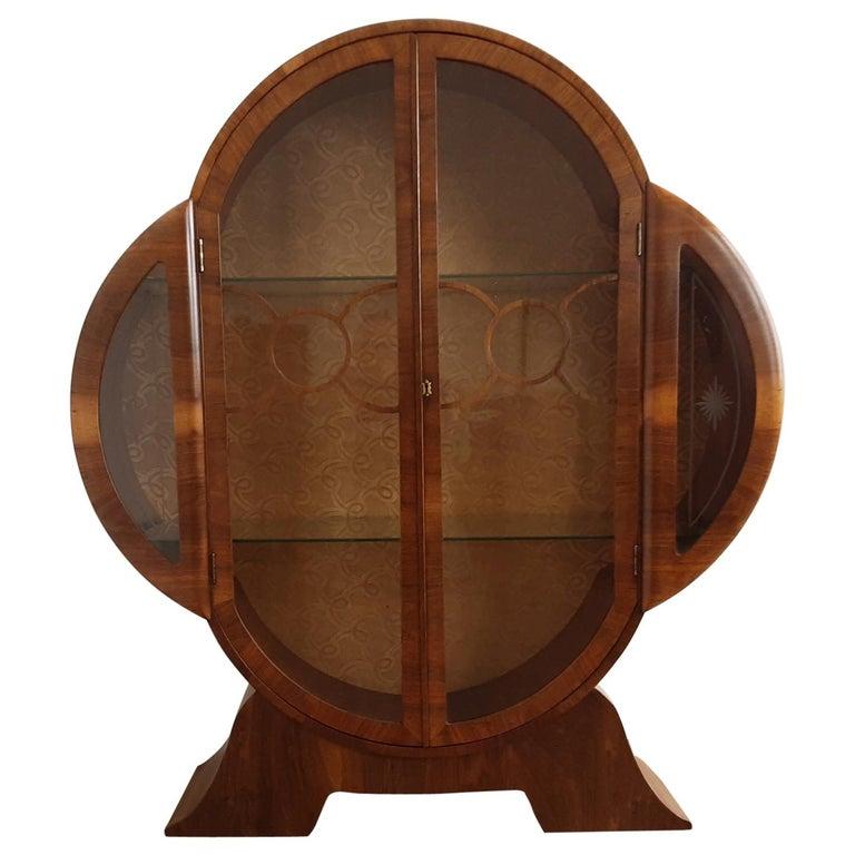 British Art Deco Display Cabinet Bookcase in Walnut For Sale
