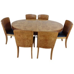 British Art Deco Extendable Dining Table and Chairs in Birdseye Maple by Hille