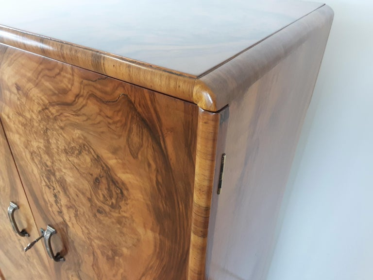 British Art Deco Figured Walnut Fitted Tallboy For Sale 6